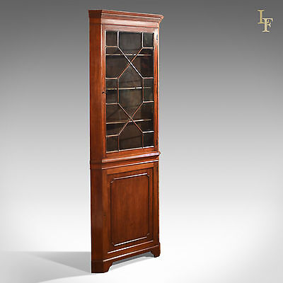 Antique Glazed Corner Cabinet, Tall Edwardian Display Cupboard, Mahogany English