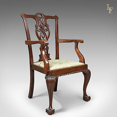 Antique Carver Chair, Victorian Chippendale Revival, Dining Armchair c.1890