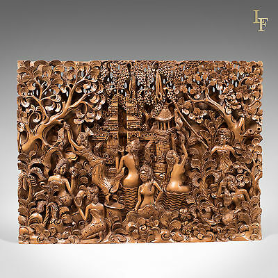 Balinese Carved Wall Panel, Mid-Century Decorative Art, Pierced Carving
