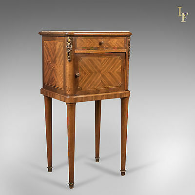 Antique Bedside Cabinet, French Pot Cupboard, Nightstand, Marble-Top c.1880