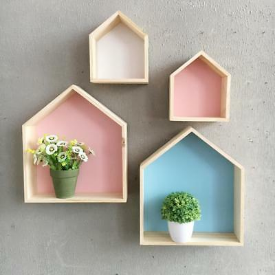 Two Sets Decorative Wall Shelf Wood Wooden for Baby Nursery Room Blue+Pink