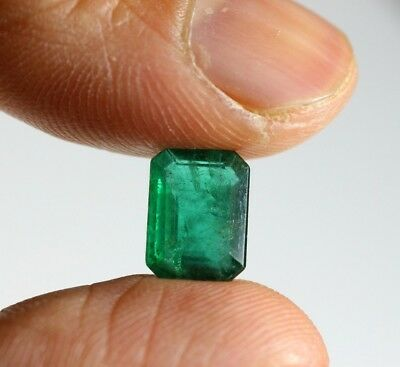 2.84 Ct Natural Emerald Loose Octagon Cut Zambian Unheated Untreated Gemstone A+