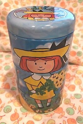 Vtg Tin Divided Container ~  Madeline Pepito Friends ~ Rotate Characters for Fun