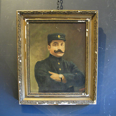 Oil on Canvas Portrait of a Belgian Soldier - Vintage Antique Original Painting