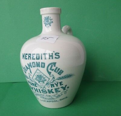 """Antique ceramic whiskey jug """"EAST LIVERPOOL OHIO"""" 4 3/4"""" tall """"MEREDITH'S"""""""