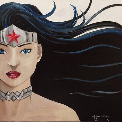 """Wonder Woman 12"""" x 12"""" Oil PAINTING By Arsenio Echevarria Not A Print"""