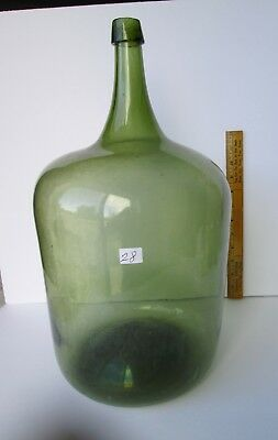 "Antique demi john-open pontil-17 1/2""tall & 9""base-squat shaped-2 gallon plus"
