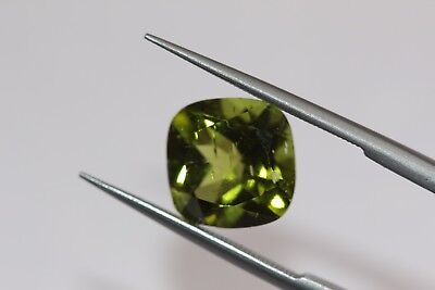 3.47 Ct Natural Peridot Loose Rich Florescent Green Color African Cushion Gem