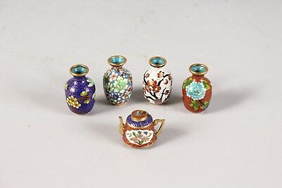 Four Antique Minature Cloisonne Enamel Vases and a similar Teapot