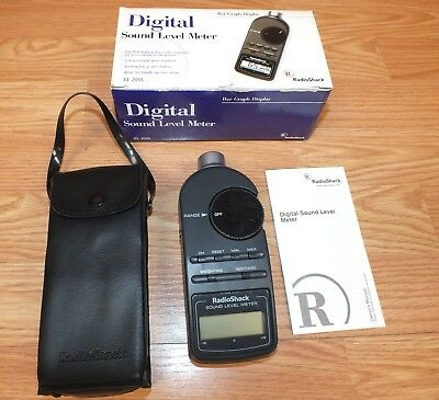 Vintage RadioShack (33-2055) Digital Sound Level Meter With Box, Manual & Case