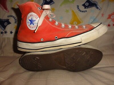 Vintage Converse Orange High Tops Made In Usa Size 11.5 Black Tags 1970