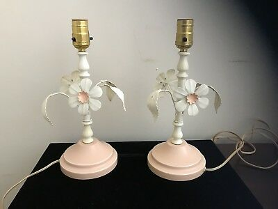 Pink Pair of Vintage 1960s Metal Tole Dresser Lamps, Flowers,  Shabby Cottage