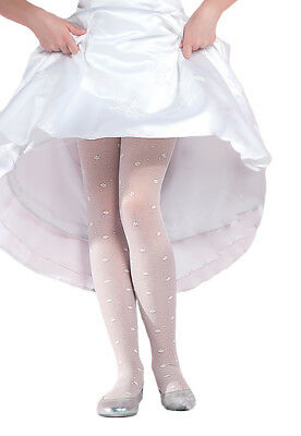 Charming Patterned White Chilrdren/'s Tights Bees 20 Denier by Lady Kama