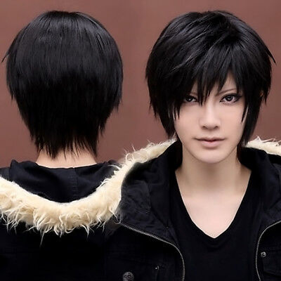Boy's Men's Kylin Black Hair Wig Mens Male Black Short Hair Cosplay Anime Pop