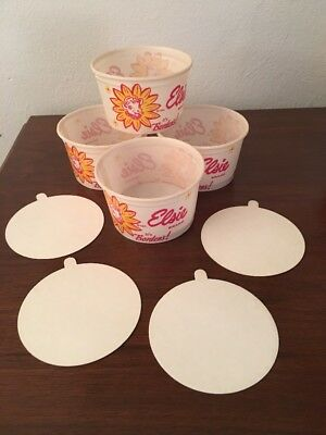 Vintage Advertising Lot-4 Borden's Elsie The Cow Ice Cream Wax Paper Cups & Lids