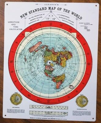 METAL Sign Flat Earth Map - Gleason's New Standard Map Of The World 1892 50054