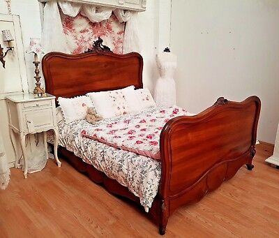 DELIGHTFUL ANTIQUE FRENCH ROCOCO CRESTED DOUBLE BED - c1900