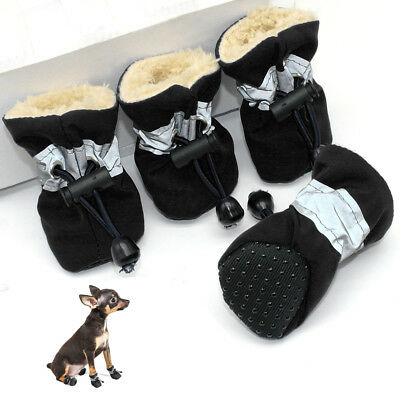 4pcs/pack Black No Slip Small Dog Shoes Reflective Waterproof Padded Puppy Boots