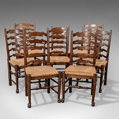 Set of 8 Antique Oak Wavy Line Ladderback Dining Chairs, Edwardian Circa 1910