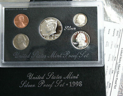 1998 United States Mint ANNUAL 5 Coin SILVER Proof Set