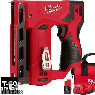 "Milwaukee 2447-21 M12 3/8"" Cordless Crown Stapler Kit New"