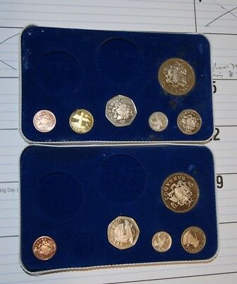 2 Partial 1973 Barbados Proof Sets  National Coinage Franklin Mint - 11 coins