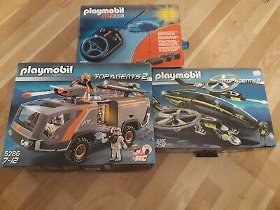 Playmobil Top Agents 2 Fahrzeug-Set Panzer 5286+Helikopter 5287+RC-Modul 4856