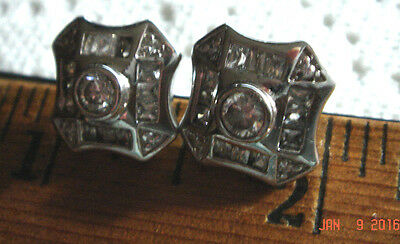 Vtg 925 Sterling Silver Old Diamonique Cz Stud Princess Wedding Bride Earrings