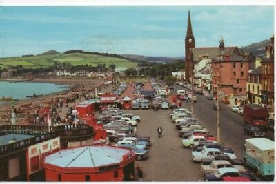 Ppc Of Largs, Ayrshire. The Promenade & Seafront With A Busy Car Park.  Used.