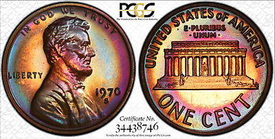 1970-S Lincoln cent proof - PCGS PR67 RB - excellent toning and color