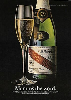 VINTAGE 1980 French Champagne Ad - Cordon Rouge Good Condition; G.H. Mumm