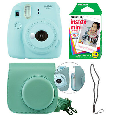 Fujifilm Instax Mini 9 Instant Film Camera Ice Blue + Case & 10 Film Sheets