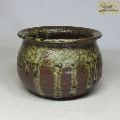 B931: Japanese TANBA pottery slop-basin KENSUI with good glaze and taste
