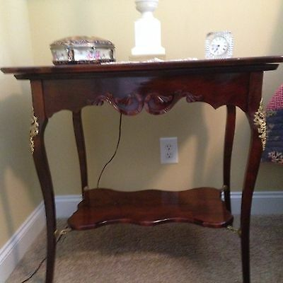 Antique French Louis XV Mahogany Side Table Hand Carved Apron & Brass Fittings