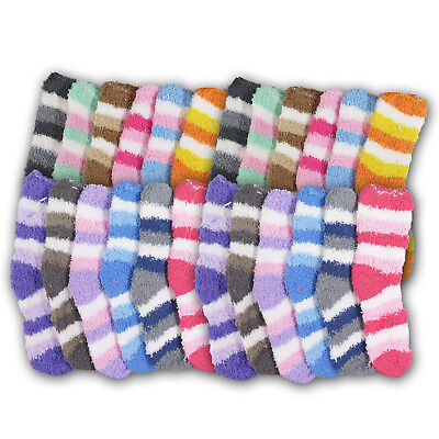 Super Soft Fuzzy Kids Socks Stripes Warm Cuddly Winter Fit Children