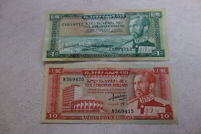 Lot of 2 Vintage Ethiopian banknotes 1 Dollar and 10 Dollar bill ( Ethiopia)