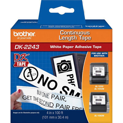 Brother 4in x 100ft Black on White Continuous Length Paper Tape - DK2243
