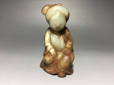 """Chinese Antique Jade Carving of Figure Statue H-4.5"""""""