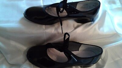 Physical Fashions Children's Black Patent Dance Tap Shoes Size 12 1/2