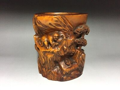 Excellent Carving Chinese Antique Wood Valuable Boxwood Brush Pot Penholder