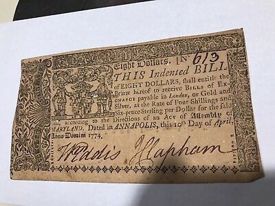 Rare $8 High Value 1774 Annapolis Colonial Currency. Valuable 613 Reg. Number