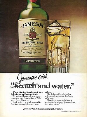 VINTAGE 1980 Jameson Irish Whiskey Glass and Bottle Ad in a Crystal Clear Sleeve