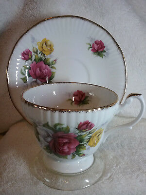 Vintage ROYAL MINISTER White, Red, & Yellow Roses - Gold Edging, Fluted Design
