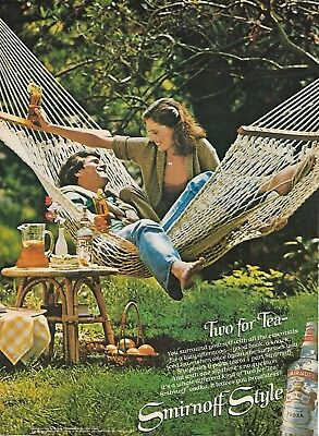 Original Print Ad-1979 SMIRNOFF VODKA-Two For Tea-Sexy Couple in Hammock Swing