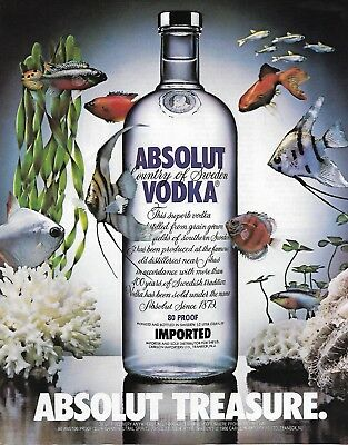 VINTAGE original Absolut Vodka Treasure Ad - Print with Fish in the Background