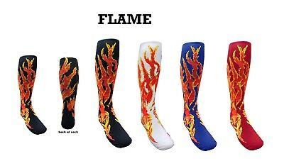 Knee High FLAME Kids Girls Boys Soccer Basketball Sports Socks Youth Size 12 - 4