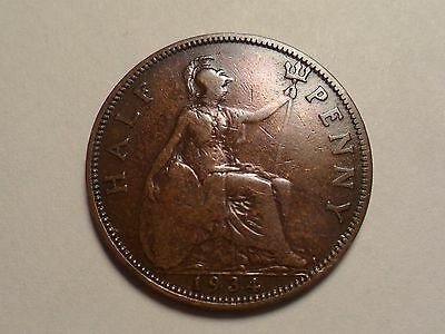 1934 Nice Half Penny Great Britain Copper Low Mintage 13,966,000!!