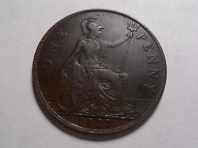 1927 Nice Large One Penny Great Britain Copper Mintage 60,990,000!!