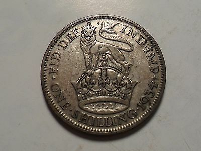 1934 NICE GREAT BRITAIN SHILLING 50% SILVER 5.655 g .0909 OZ MINTAGE 6,138,000!