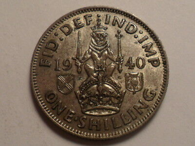 1940 Nice Great Britain Shilling Silver 50% .09090 Oz Mintage 9,913,000!!